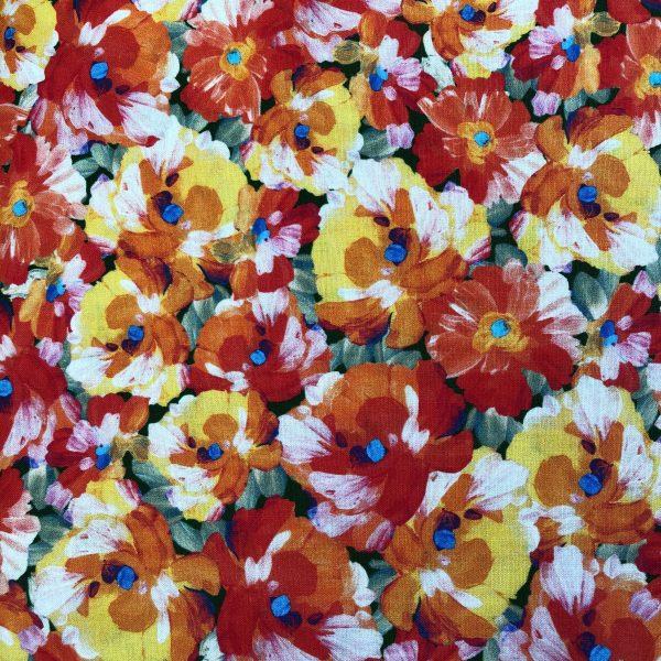 Tessuto in cotone americano - fiori - viole - Filomania
