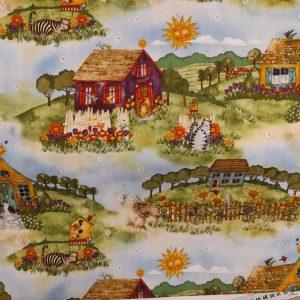 Tessuto in cotone americano - paesaggio - campagnia - Filomania