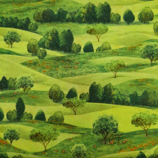 Tessuto in cotone americano - paesaggio - prato - Filomania