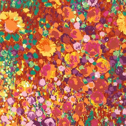 Tessuto in cotone americano - watercolor - monet - arancione - Filomania