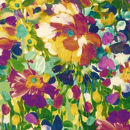 Tessuto in cotone americano - watercolor - monet - multicolor - verde - Filomania